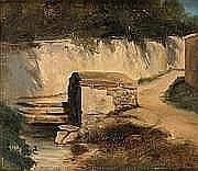 André GIROUX (Paris 1801 - 1879) Le Lavoir Papier