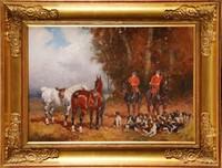 Baron Karl André Jean REILLE (1886-1974) Le repos de l'équipage Sur sa toile d'origine Signée en bas à droite 32,4 x 46 cm (12,7 x 18,1 in.) On its original canvas, Signed lower right