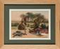 François Richard de MONTHOLON (1856-1940) Bouchers indiens, camp britannique des Bruyères-Saint-Julien à Rouen . 1915 . Aquarelle sur sérigraphie Signée en bas à droite Etiquette de la vente d'atelier au dos 27 x 38 cm (10,6 x 15 in.) Watercolour on