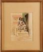 Henri DE BOUG D'ORSCHWILLIER (1783-1859)  Oriental fumant le calumet Aquarelle et crayon Signé en bas à droite 26,2 x 20,3 cm (10,3 x 8 in.)  Watercolour and pencil, Signed lower right