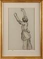 Jean PESKÉ (1870-1949) Jeune fille les bras levés Fusain  46,5 x 29,6 cm (à vue) (18,3 x 11,6 in.)  Etiquette au dos : Exposition : Galerie DURAND-RUEL 1972  Charcoal