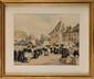 Henri Alphonse BARNOIN (1882 - 1940) Marché en Bretagne Crayon, lavis et gouache Signé en bas à gauche 22 x 28 cm (8,7 x 11 in.)  Pencil, wash drawing and gouache, Signed lower left