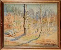Joseph-Clément-M. JEANNOT (1855-?) Fontainebleau, hiver Aquarelle Signée en bas à droite, titrée en bas à gauche 48,7 x 60,5 cm (19,2 x 23,8 in.) Watercolour, Signed lower right, Titled lower left