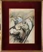 Jean Jules Henry GEOFFROY (1853-1924) dit Géo En classe, le travail des petits Pastel 34 x 25 cm (13,4 x 9,8 in.)  Dessin préparatoire du tableau du même nom qui se trouve au Ministère de l'Education Nationale  Pastel