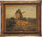 James DESVARREUX-LARPENTEUR (1847-1937) Troupeau devant le moulin Huile sur toile Signée en bas à gauche 46 x 55 cm (18,1 x 21,6 in.)  Oil on canvas, Signed lower left
