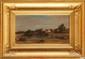 Édouard Auguste IMER (1820-1881)  Ferme en bord d'étang Huile sur toile Signée en bas à gauche 19,5 x 36,5 cm (7,7 x 14,4 in.) (Accident)  Oil on canvas, Signed lower left