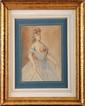 Constantin GUYS (1802/05-1892)  Lorette en tenue de bal Crayon et lavis 24 x 17 cm (9,4 x 6,7 in.)  Vente Christies, 23 juin 2009, n°153  Pencil and wash drawing
