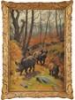 Georges Frédéric RÖTIG (1873-1961)  Sangliers en forêt Huile sur toile Signée et datée 36 en bas à gauche 70 x 48 cm (27,5 x 18,9 in.)  Oil on canvas, Signed and dated 36 lower left
