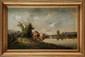 Frédéric Marius MANIQUET (1822-1896)  Promenade en bord de rivière Sur sa toile d'origine Signée en bas à droite 40 x 65 cm (15,7 x 25,6 in.)  On its original canvas, Signed lower right