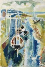 ISAEV Nikolai (1891-1977), Vue de port, Aquarelle , Signé en bas à droite, 61 x 47,5