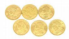 SUISSE 6 pièces or 20 francs Suisse 1915-1916-1922-1935 (x2)-1947 Poids total : 33 g
