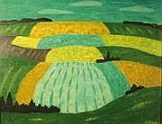 André EVEN (1918-1996) Champs en été. Huile sur