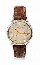 JAEGER LECOULTRE Montre Jaeger Lecoultre, modèle Futurmatic en acier sur bracelet cuir. Circa fin 50's. Mouvement calibre 497 avec une mise à l'heure originale par couronne de remontoir sur le fond de boite de la montre. Cadran 2 compteurs avec