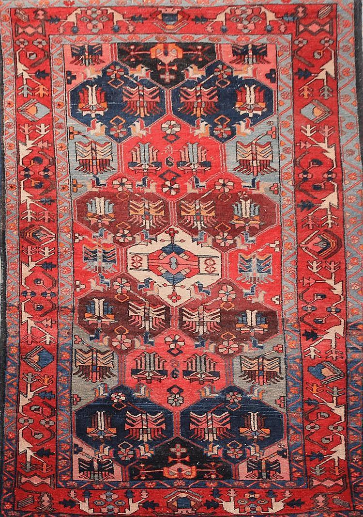 Original HAMADAN (Iran) fond bleu nuit à décor floral géométrique 220 x 135 cm