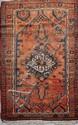 ZINDJAN (Iran) fond brique orangé à décor floral géométrique Vers 1965 200 x 125 cm (changement de laine naturel)
