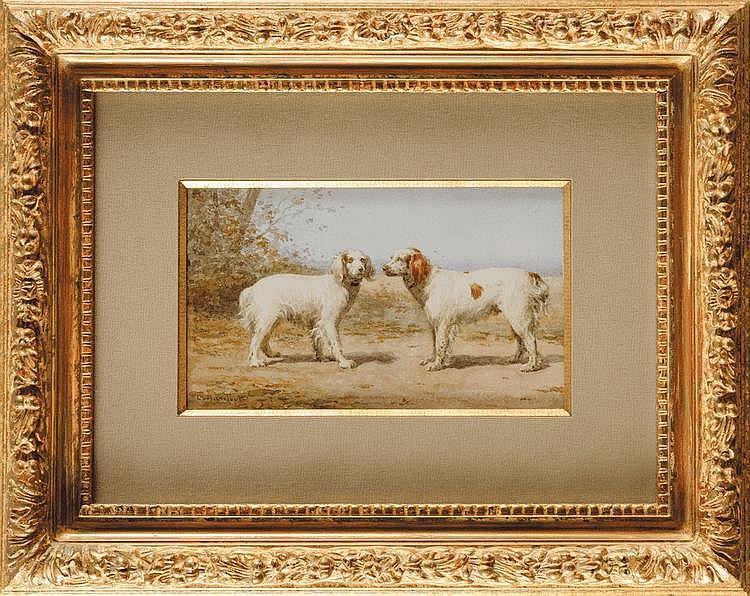Léon BARILLOT (1844-1929) Chien St Bernard Chien berger de Beauce Couple de braques d'Auvergne Couple d'epagneuls bretons Suite de quatre aquarelles et gouaches Signées en bas à gauche et en bas à droite pour le berger de Beauce 12 x 20,5 cm