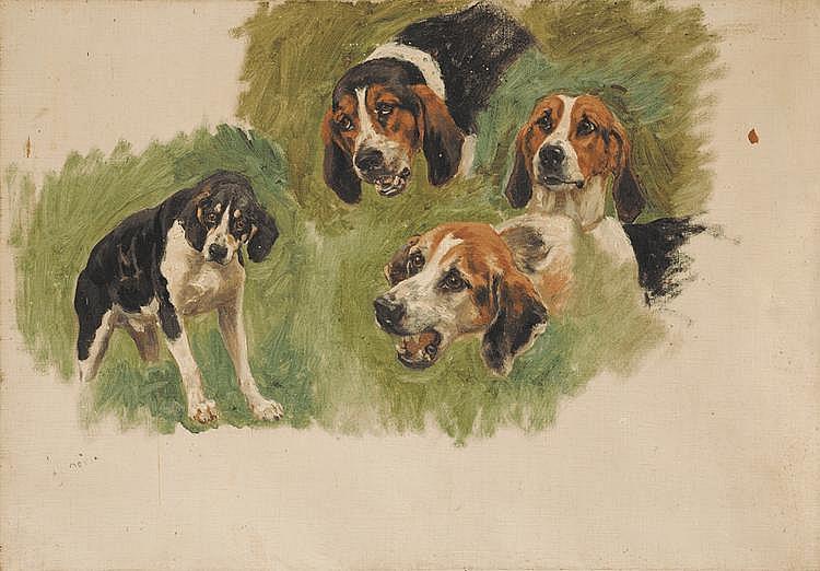 Jules Bertrand GÉLIBERT (1834-1916) Etude de têtes de chiens Sur sa toile d'origine 38 x 55 cm Provenance : Descendance directe de l'artiste