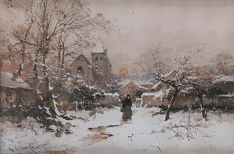 L. Courtier (XIXème - XXème) La sortie de village au crépuscule Aquarelle et gouache Signé en bas à gauche 30 x 31 cm