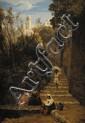 Paul Alfred de CURZON (1820-1895) Escalier de Capri Sur sa toile d'origine 68,5 x 47,5 cm Signé en bas à droite A. de Curzon Provenance : Collection particulière Acquis par la Société des Amis des Arts de Bordeaux en 1862, n°20 , Donné à H. Cabanes,