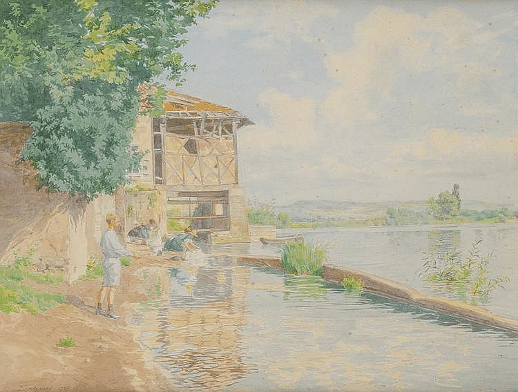 Paul GREGOIRE (Actif au XIXème siècle et au début du XXème siècle) Paysage à la rivière Paysage au pêcheur Paire d'aquarelles 30 x 40 cm Une signé en bas à gauche Paul Grégoire