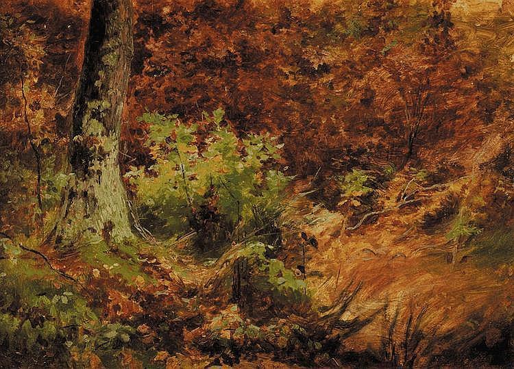 Jules Bertrand GÉLIBERT (1834-1916) Paysage d'automne Huile sur carton fort 22 x 33 cm Tampon de l'atelier Gélibert au dos Provenance : Descendance directe de l'artiste