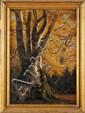 Louis Auguste LAPITO (1803-1874) Grand arbre, Fontainebleau en Automne Huile sur papier marouflé sur toile 44 x 32 cm