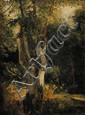 Louis Auguste LAPITO (1803-1874) Grand arbre, Fontainebleau au Printemps Huile sur papier Signé en bas à gauche 42 x 30 cm