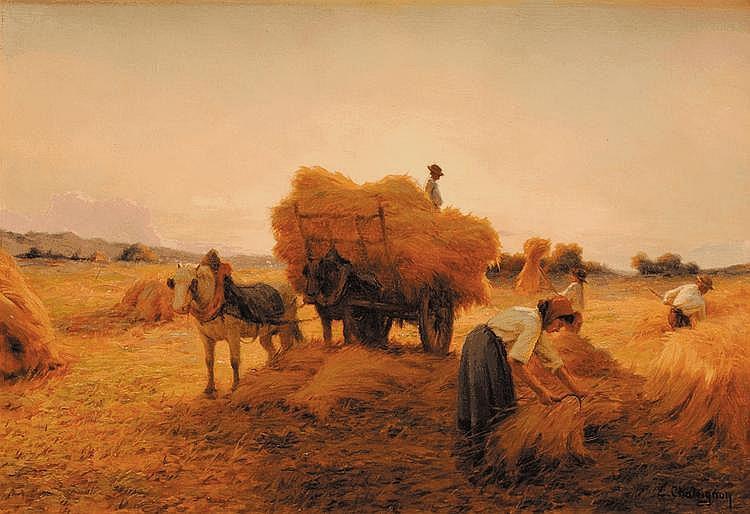Ernest CHATEIGNON (1863-c.1910)  Les moissons Sur sa toile d'origine Signé en bas à droite 38 x 55 cm
