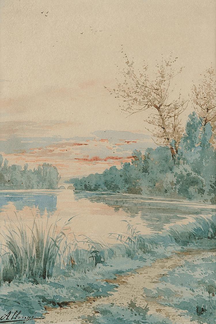 Auguste ALLONGÉ (1833-1898) Etang en sous-bois Aquarelle Signé en bas à gauche 38,5 X 26