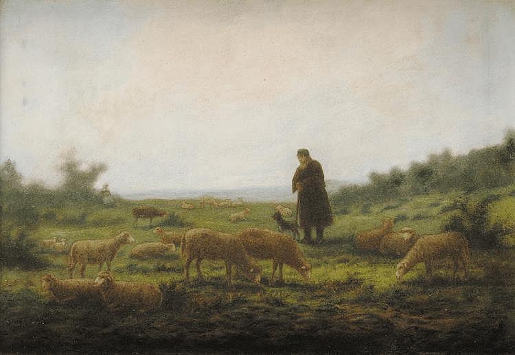 Jean-Ferdinand CHAIGNEAU (1830-1906) Berger et ses moutons Pastel Signé en bas à droite 40 x 58 cm