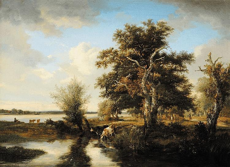 Jules ANDRÉ (1807-1869) L'abreuvoir Huile sur toile Signé en bas à gauche 46 x 63 cm