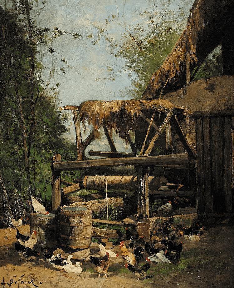 Alexandre DEFAUX (1826-1900) Un vieux puits à Puys prés de Dieppe Sur sa toile d'origine Signé en bas gauche et titré au dos 56 x 46 cm