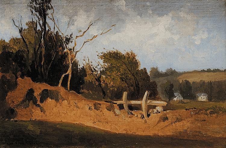 Léon GAUCHEREL (1816-1886) Paysage à la barrière Sur sa toile d'origine Signée en bas à gauche 21,6 x 32,6 cm
