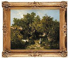 Louis Adolphe HERVIER (1818-1879) La leçon d'histoire naturelle Toile Signé et daté 74 en bas à gauche 60 x 73,5 cm