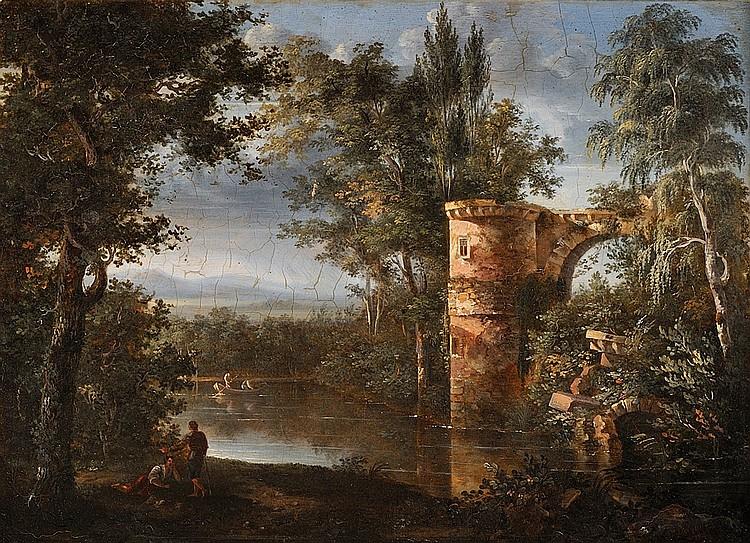 Isidore DAGNAN (1794 - 1873) Vue romantique d'un lac Sur sa toile d'origine Signé et daté en bas à droite I.Dagnan 1820 25 x 33 cm
