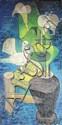 Louis TOFFOLI 1907 - 1999 Composition à la colombe et aux lys Huile sur toile Signée en bas à droite 41 x 80 cm