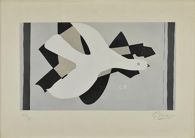 BRAQUE Georges, 1882-1963 L'oiseau et son ombre III, 1961 eau-forte en couleurs n°12/75, signée en bas à droite, 33x58 cm. BIBLIOGRAPHIE Braque, l'oeuvre gravé catalogue raisonné, Dora Vallier, Flammarion, 1982, sujet similaire décrit et reproduit