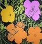 Flowers (orange & jaune & rose) Sérigraphie en couleur Edition Sundy B Morning 91 x 91 cm