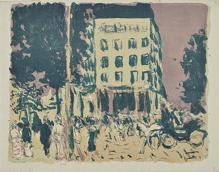 BONNARD Pierre, 1867-1947 Les Boulevards, 1900 lithographie en couleurs sur Chine (très légère trace de pli en bas à gauche et petites rousseurs), inscription en bas à gauche: Pierre Bonnard, en bas à droite: I, 27x33,5 cm. BIBLIOGRAPHIE Bonnard