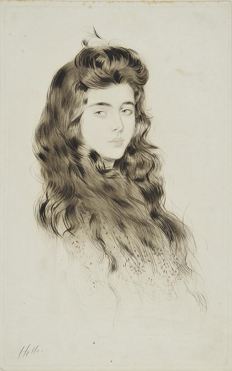 HELLEU Paul César, 1859-1927 Jeune fille aux longs cheveux pointe-sèche et eau-forte en couleurs (rousseurs et traces d'humidité), signée en bas à gauche, 54,5x34 cm.