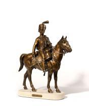 Jules Edmond MASSON (1871-1932) Avant la charge Sculpture en bronze patiné médaille sur socle en mar