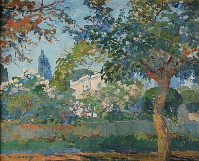 Léon CAUVY (1874-1933) Jardins de la villa