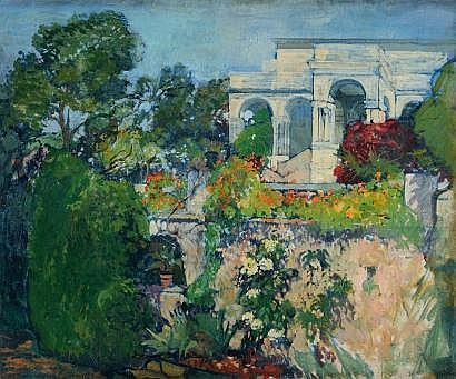 Léon CAUVY (1874-1933) Les jardins de la villa