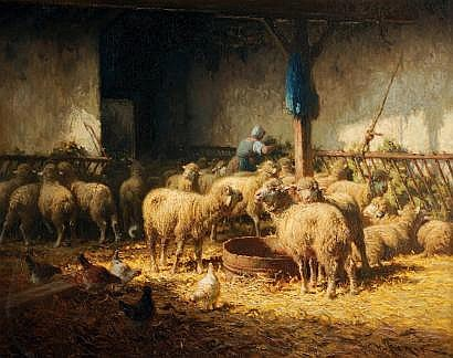 Charles CLAIR (1860-1930) Moutons dans la bergerie