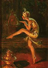 Pierre BONNAUD (1865-1930) Mata-hari au casino de Lyon Huile sur carton fort Signé en bas à droite 22 x 16 cm  Oil on cardboard