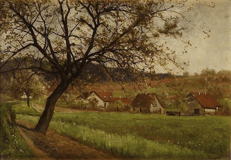 Émile BOUZIN (1870-?) Paysage Sur sa toile d'origine Signé et daté 1899 en bas à droite 31