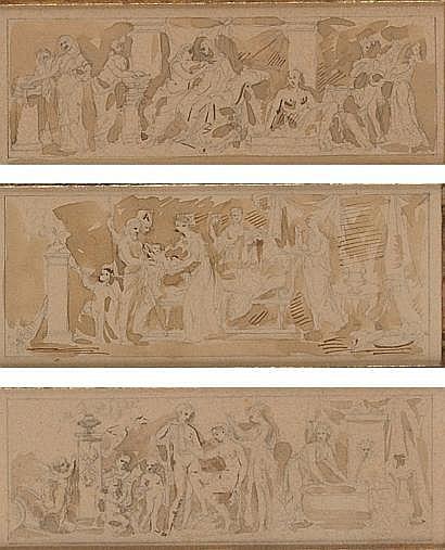 DUPRE Augustin (1748-1833) Suite de trois dessins