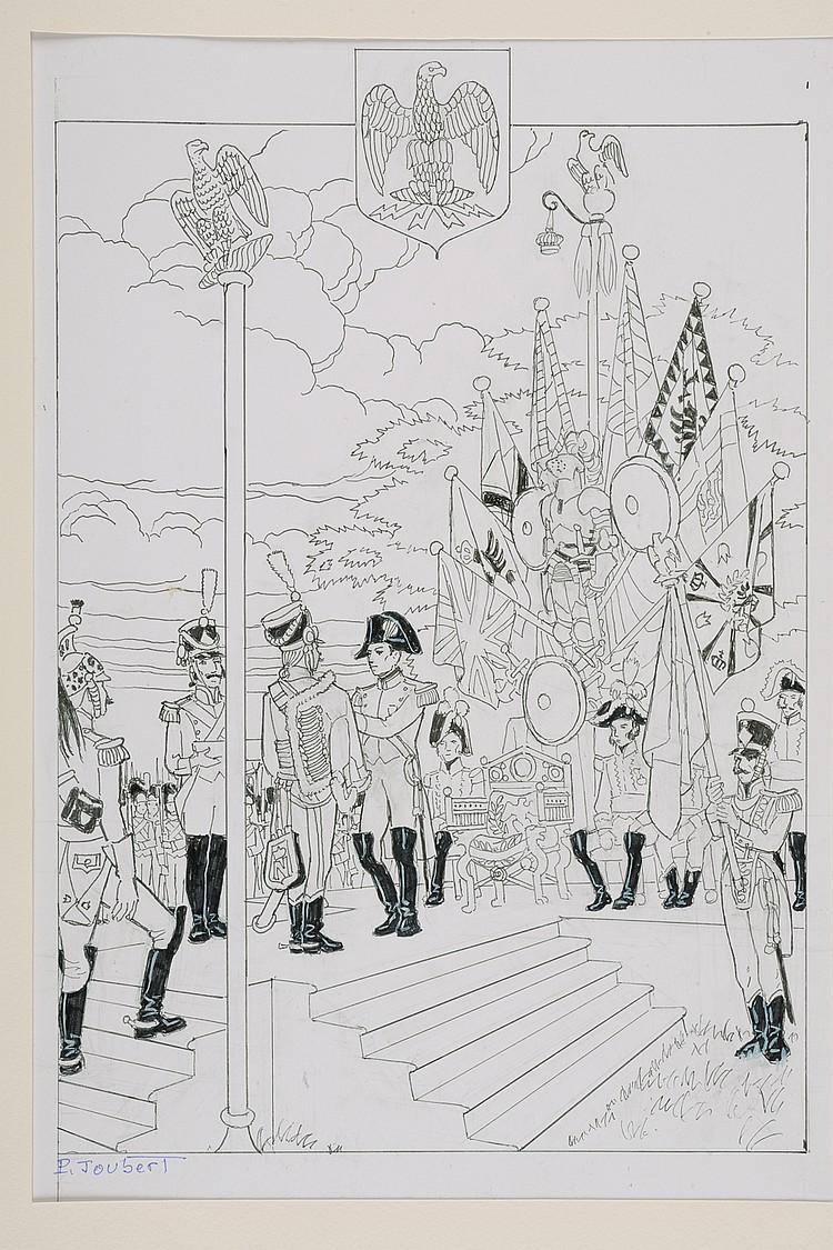 PIERRE JOUBERT (1910-2002) Histoire des Ordres de Chevalerie La Légion d'honneur créée par Napoléon Encre de chine et rehaut de gouache, signée en bas à gauche. Dessin original de Pierre Joubert, pour le volume «Histoire des ordres de chevalerie»,