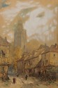 Armand Théophile CASSAGNE (1823-1907) L'Eglise Saint Jacques, à Compiègnes Aquarelle, crayon et gouache Signé et dédicacé en bas à gauche Situé en bas à droite 50,5 x 34 cm (à vue) (19,9 x 13,4 in.) Watercolour, pencil and gouache Signed and
