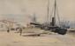 Gaston BETHUNE (1857-1897)  Le Quai des Anglais, à Marseille Aquarelle et crayon Signé et daté 83 en bas à droite Titré en bas à gauche 35 x 55 cm (à vue) (13,8 x 21,6 in.)  Watercolour and gouache Signed and dated 83 lower right Titled lower left